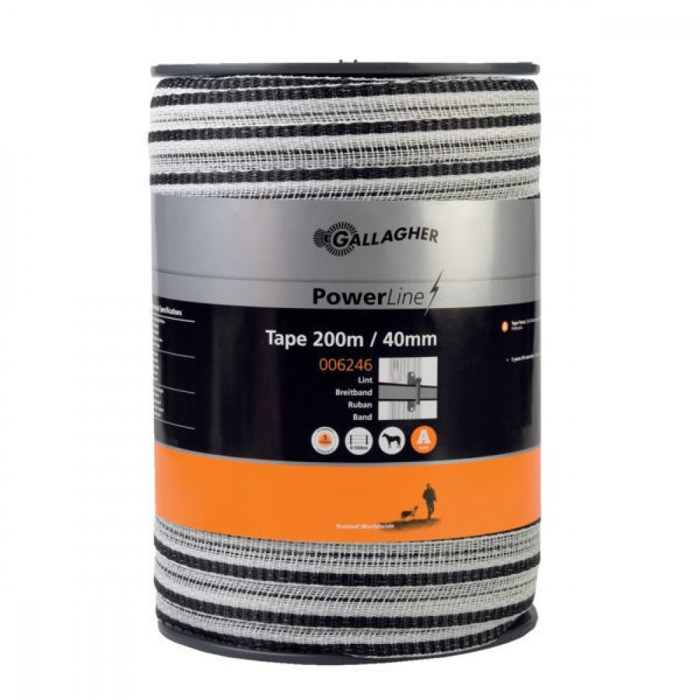 Gallagher PowerLine Lint 40mm 200m wit - 006246GAL | Goed zichtbaar | 450 kg | 0,31 Ohm Ohm/m | 59 x 0.5 | 1 mm | 0.2 mm