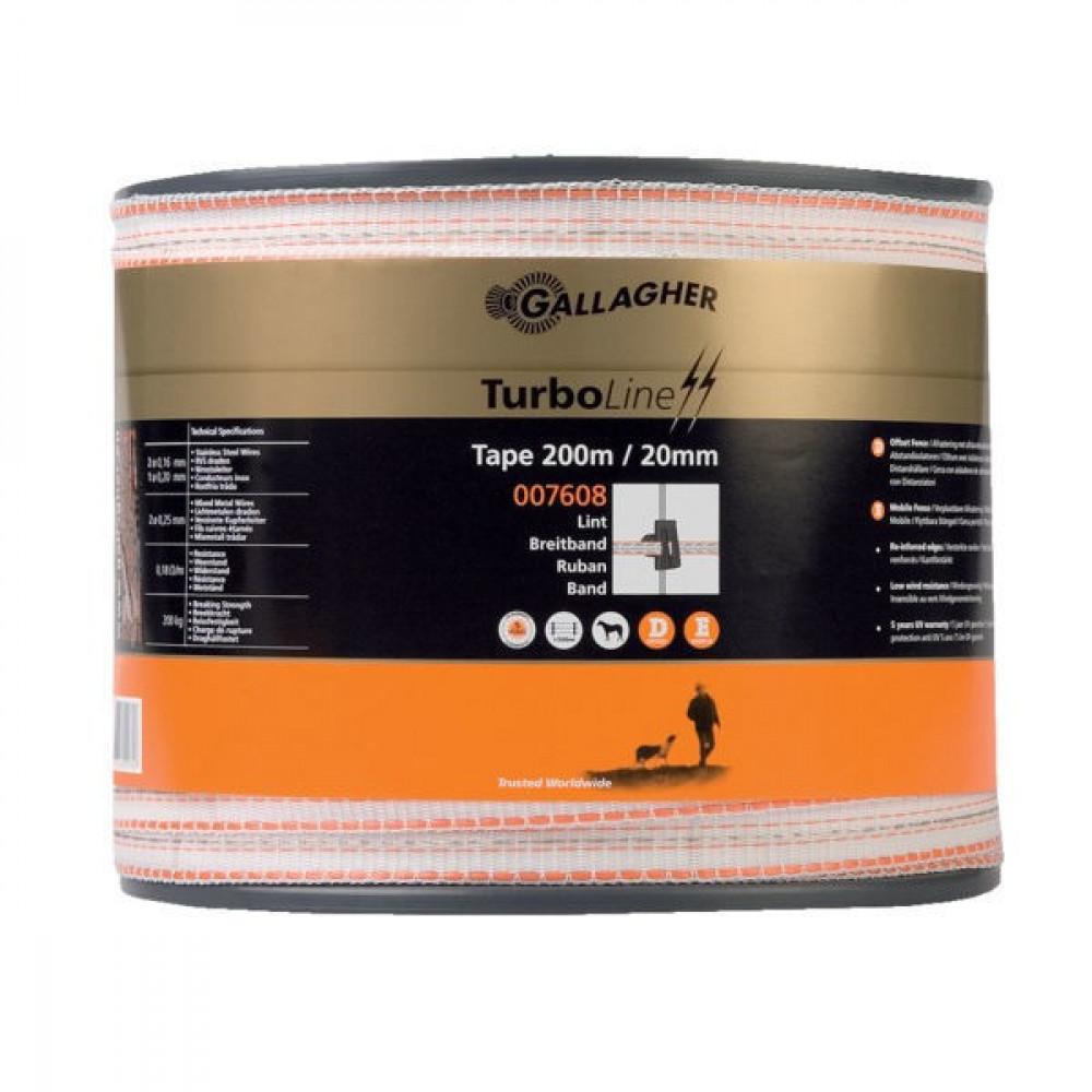 Gallagher TurboLine schriklint 20mm 200 m wit - 007608GAL | 5 jaar UV-garantie | 200 kg | 0,18 Ohm Ohm/m | 62 x 0.38 | 2 mm | 2 mm