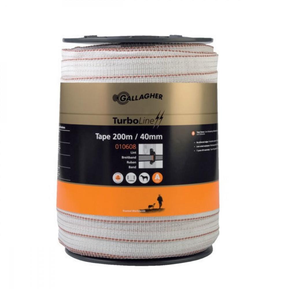 Gallagher TurboStar Lint 40mm Super 200m wit - 010608GAL | 7 jaar UV-garantie | 520 kg | 0,06 Ohm Ohm/m | 0.2 mm