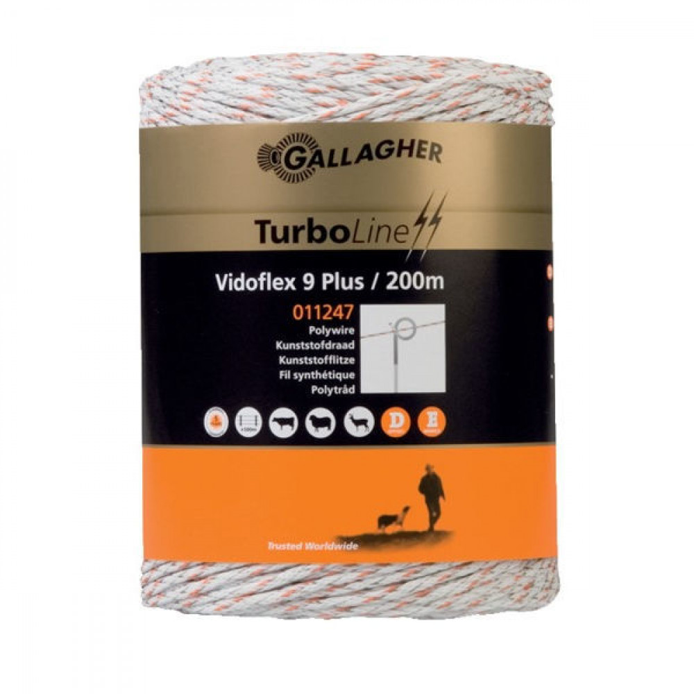 Gallagher Vidoflex 9 TurboLine Plus 200m - 011247GAL | Voor lange afrasteringen | 3 mm | 6 mm