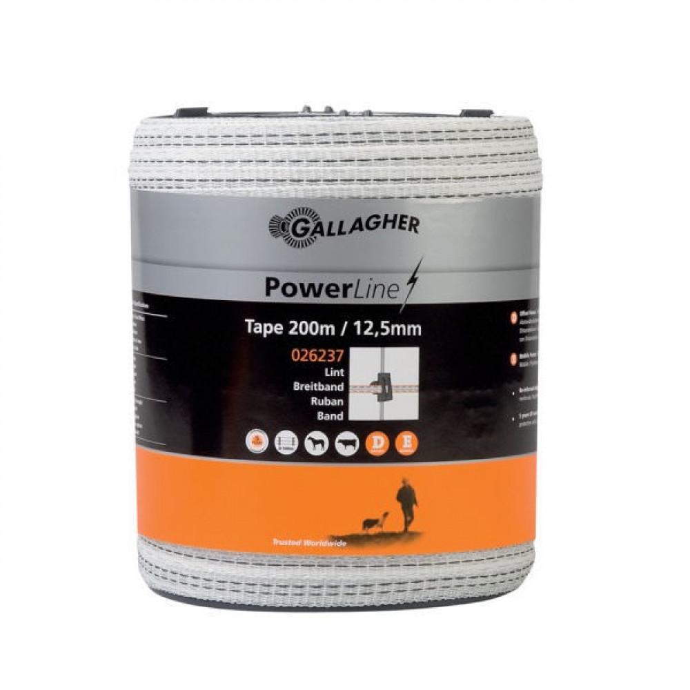 Gallagher PowerLine schriklint 12,5 mm 200 m wit - 026237GAL | Uitstekende geleiding | 12,5 mm