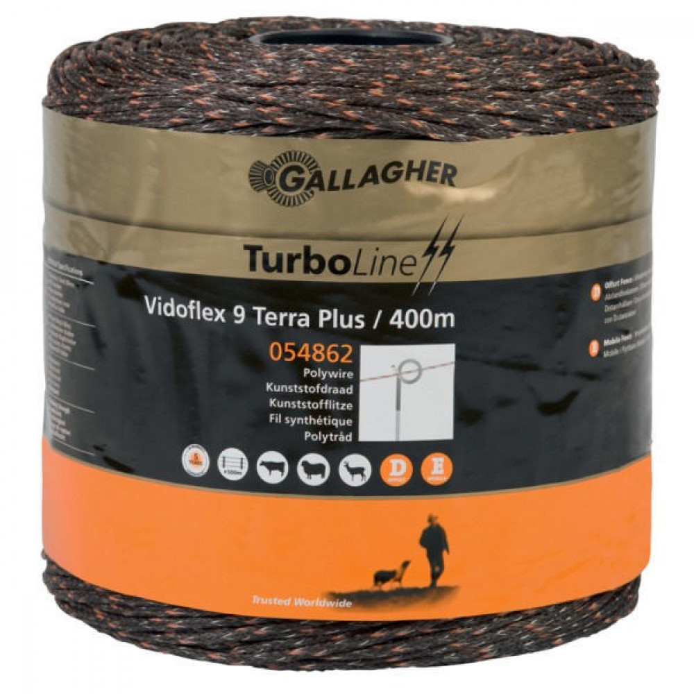 Gallagher Vidoflex 9 TurboLine Plus Terra 400m - 054862GAL   Voor lange afrasteringen   3 mm   6 mm