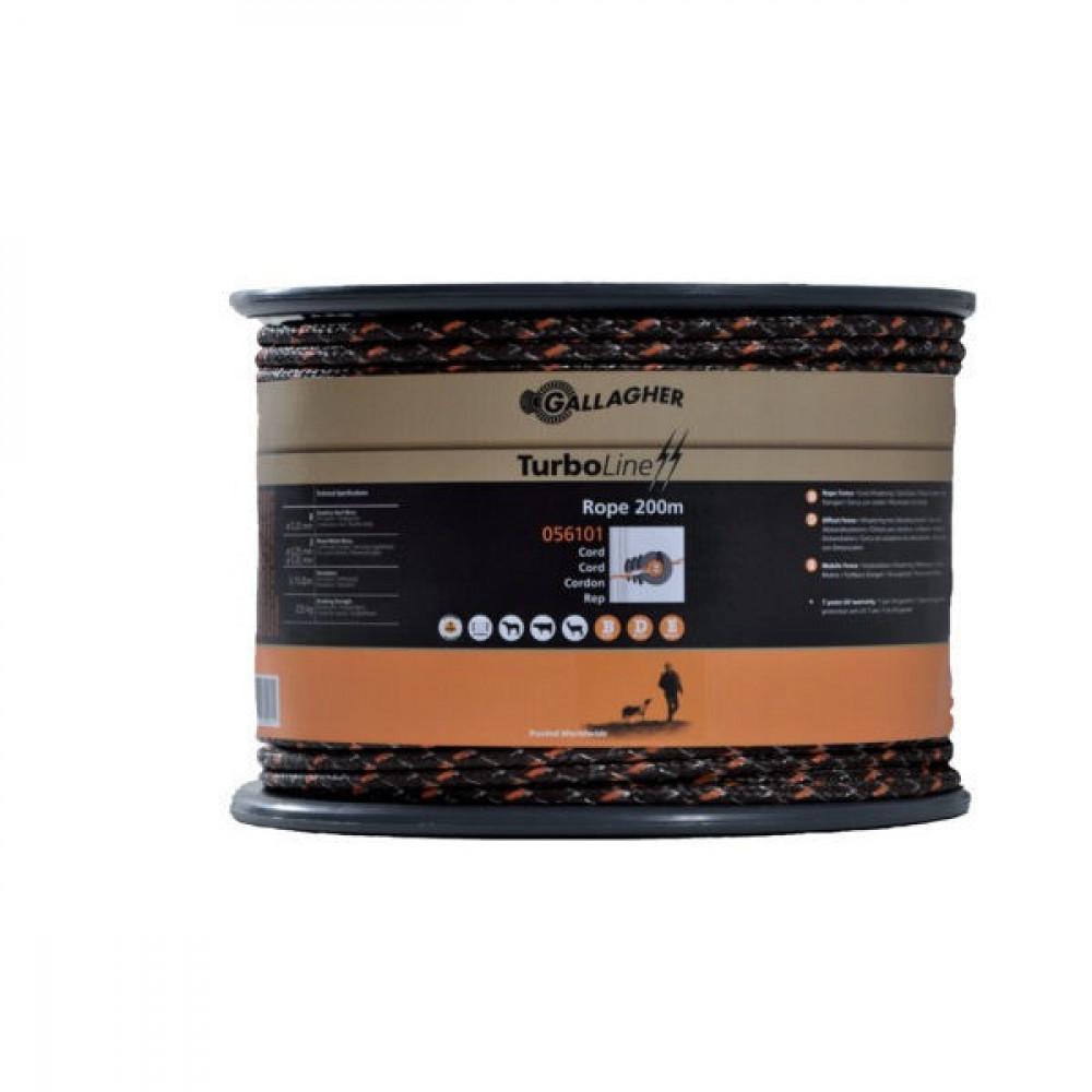 Gallagher Turboline Cord Terra 200m - 056101GAL   Soft-touch cord   225 kg   0,1 Ohm Ohm/m   3 mm   8 mm