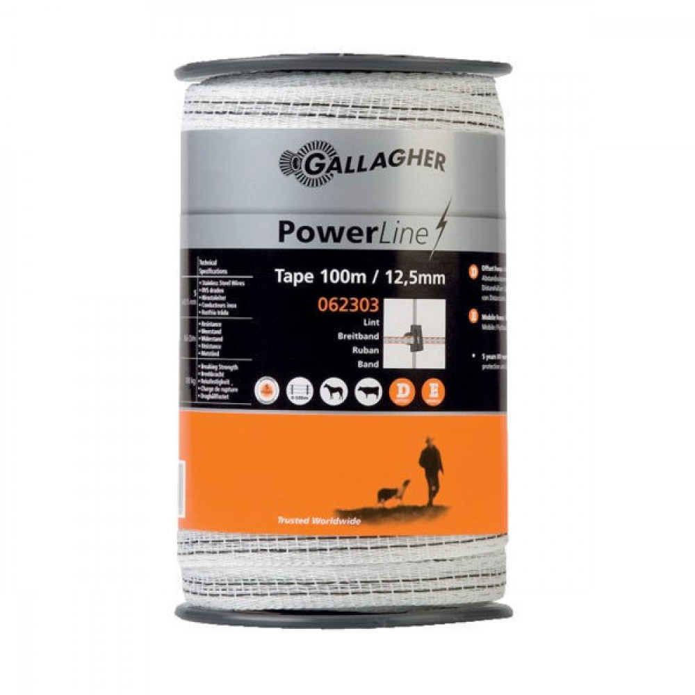 Gallagher PowerLine schriklint 12,5 mm 100m wit - 062303GAL | Uitstekende geleiding | 12,5 mm