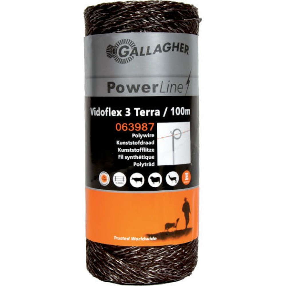 Gallagher Vidoflex 3, 100m terra - 063987GAL   Uitstekende geleiding   6 mm