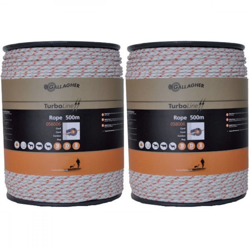 Gallagher Dub.verpak.TurboLine Cord wit - 069293GAL | Soft-touch cord | 2x200 m | 225 kg | 0,1 Ohm Ohm/m | 3 mm | 8 mm