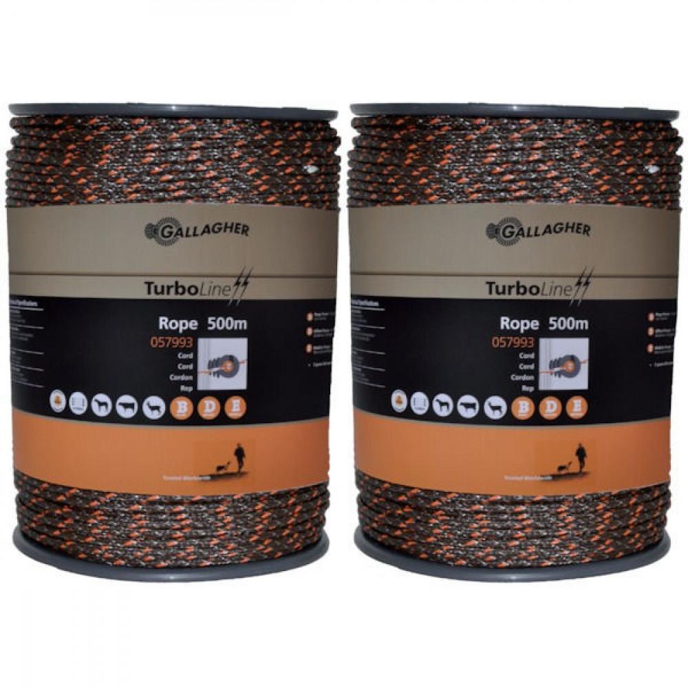 Gallagher Dub.verpk.TurboLine Cord terra - 069804GAL | Soft-touch cord | 2x500 m | 225 kg | 0,1 Ohm Ohm/m | 3 mm | 8 mm