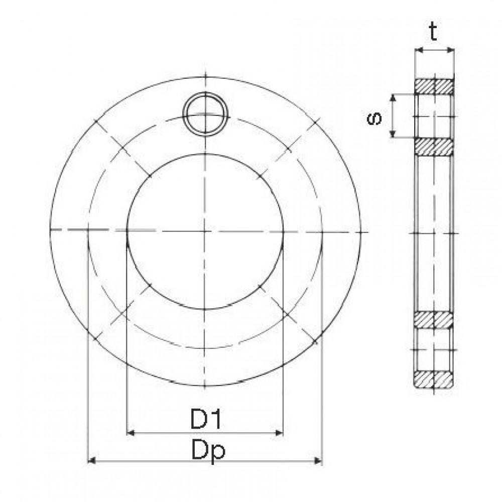 Plasson Stalen flens 110 mm - 09903110 | 128 mm | 180 mm | 20 mm