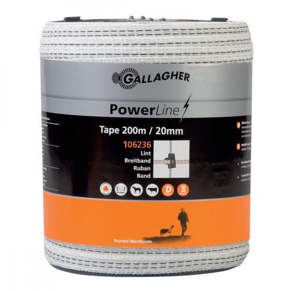 Gallagher PowerLine schriklint 20mm 200 m wit - 106236GAL | Goed zichtbaar