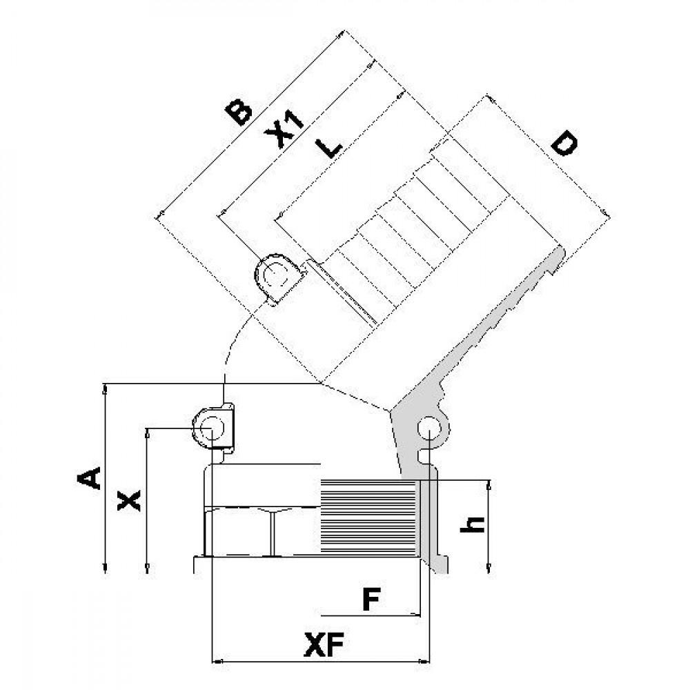 "Arag Bocht 45°+tule 50mm+bi 2"" - 111750 | 2"" Inch BSP | 50 mm"