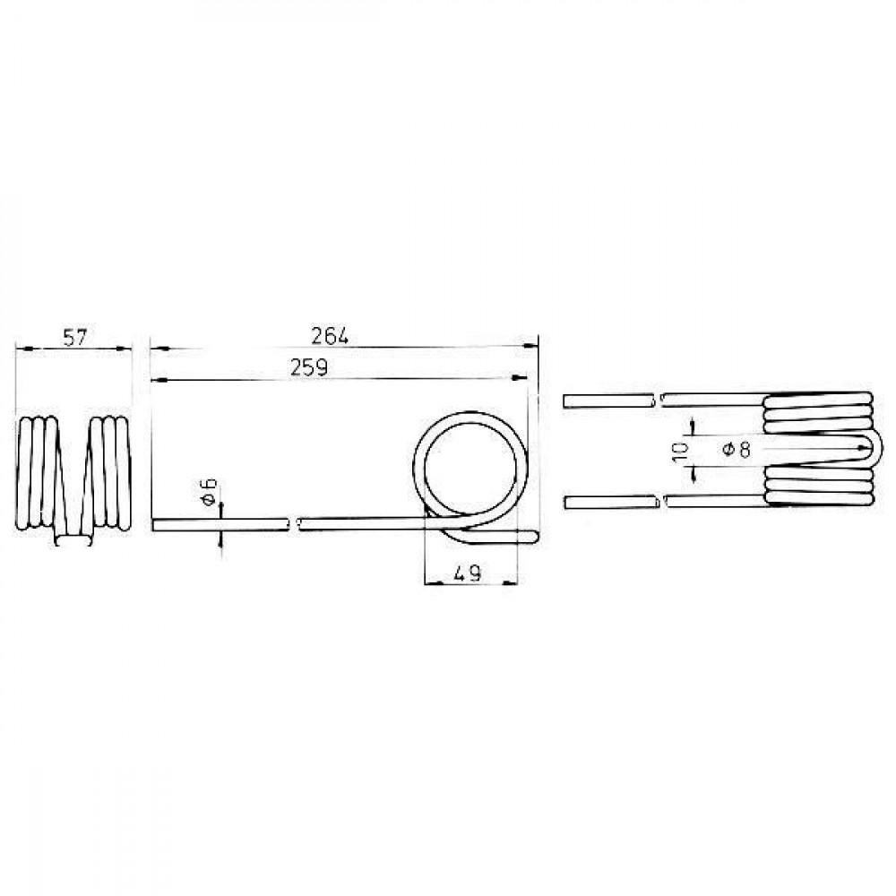 Tand dubbel gelijk JF - 14330397N | 1433.0397 | 264 mm