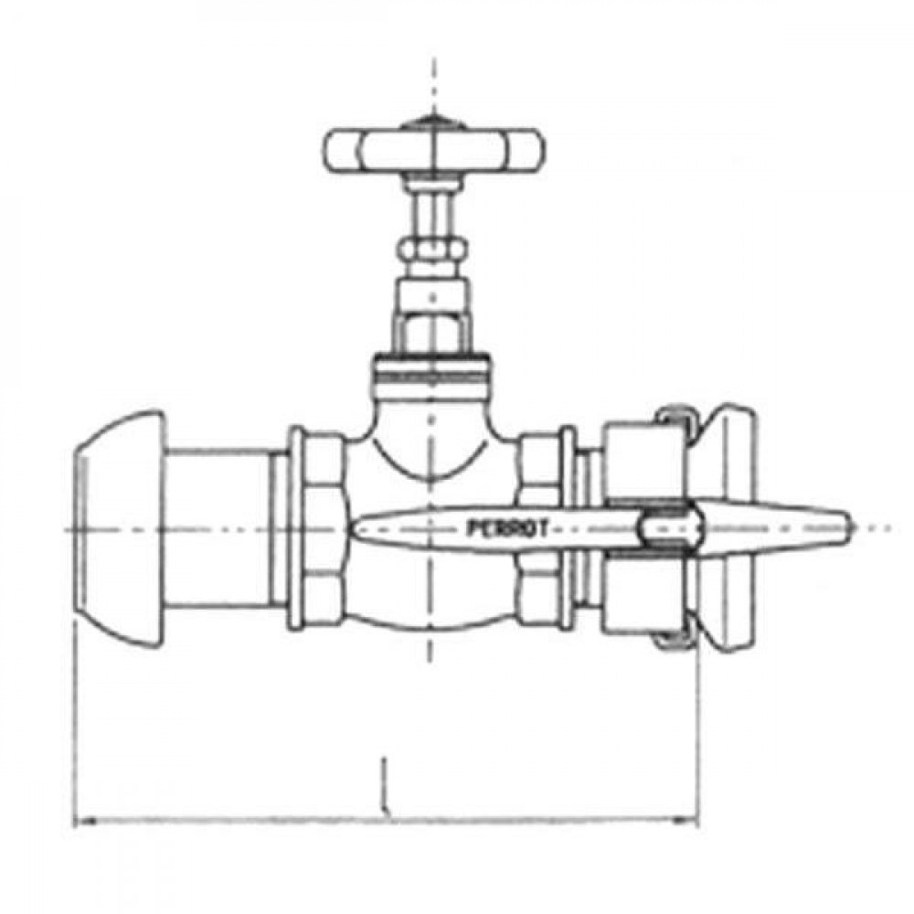 Perrot KKM/KKV verloopstuk met afsluiter - 25102000 | 2 1/2 Inch | 246 mm