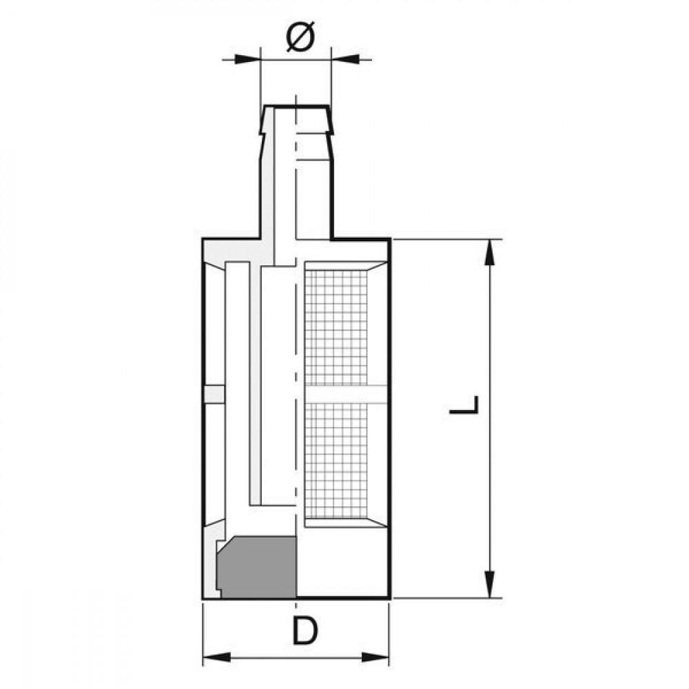 Arag Jerrycanfilter met gewicht - 305008AV | 21 mm | 8 mm