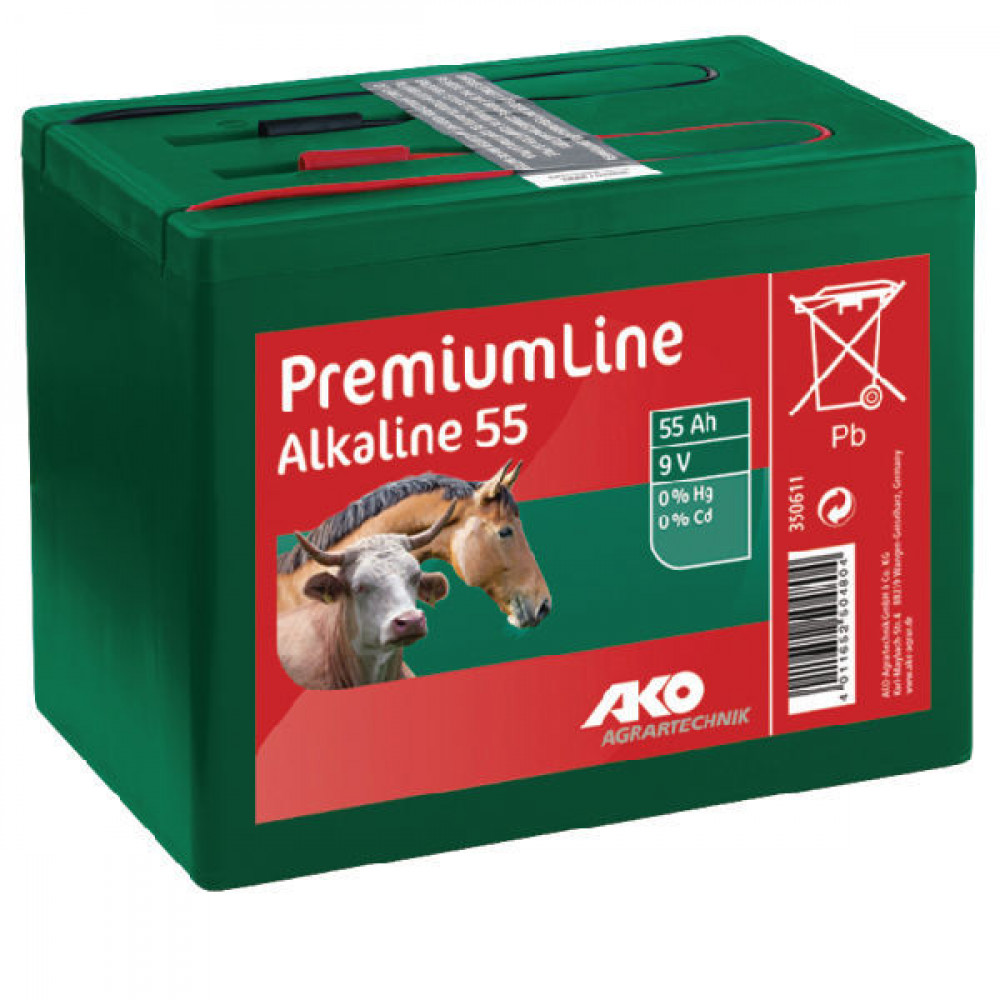 AKO Alkaline batterij kl. 9V-55 Ah - 350611   Lange levensduur   Kwiken cadmiumvrij   165 x 110 x 110 mm   55 Ah