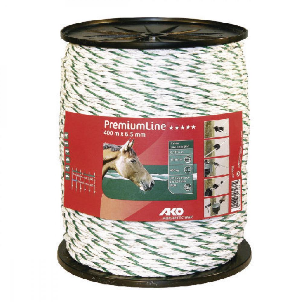 AKO Schrikkoord 6,5mm 400m wit/groen - 441554   Voor lange afrasteringen   Goed geleidend   Wit / groen   6,5 mm   400 kg   0,15 Ohm Ohm/m   3 x 0,25 mm   6 x 0,20 mm   6.5 mm