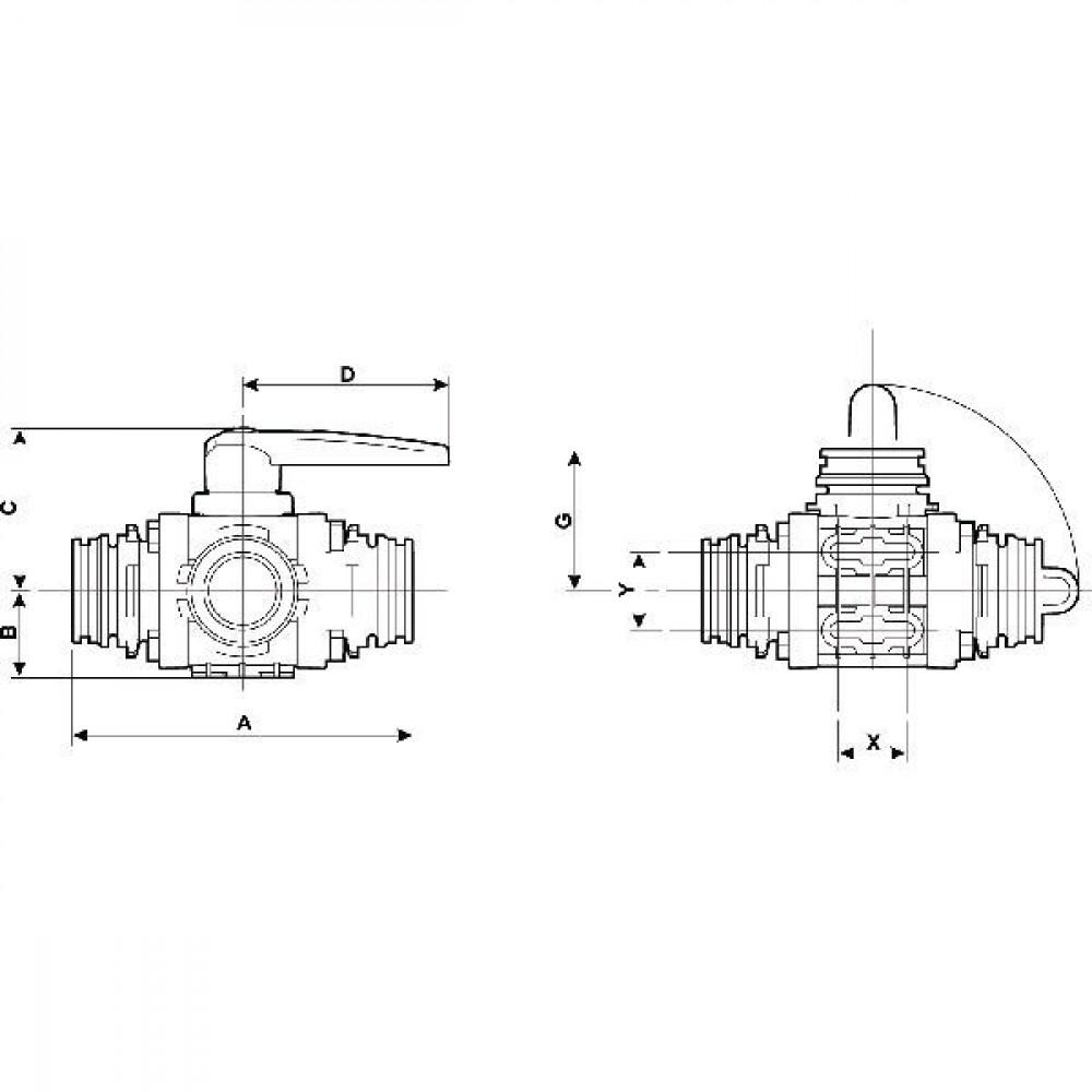 Arag 3-weg kogelkraan T9 mal - 453017S99 | 227 mm | 125 mm | 200 mm | 104 mm