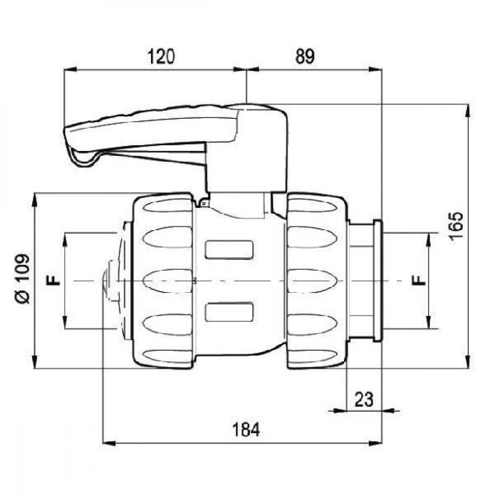 "Arag Kogel - ventiel - 4545077 | Dubbele wartelmoeren | 2"" | Polypropylene"