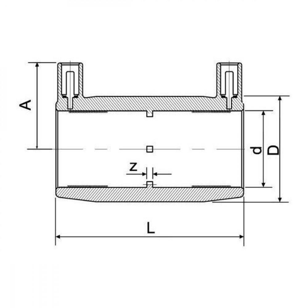 Plasson Mof 315 mm SDR 11 - 490104315   Universeel toepasbaar   PE 100 SDR 11 (ISO S5)   284 mm   315 mm   381 mm   184 mm