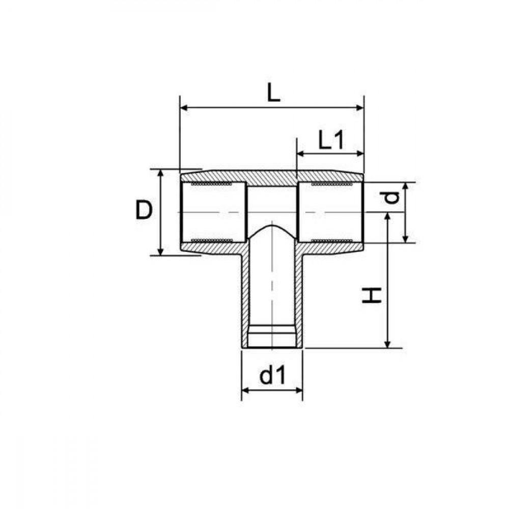 Plasson T-stuk 250 mm - 490404250   PE 100 SDR 11 (ISO S5)   250 mm   250 mm   326 mm   315 mm   538 mm   129 mm