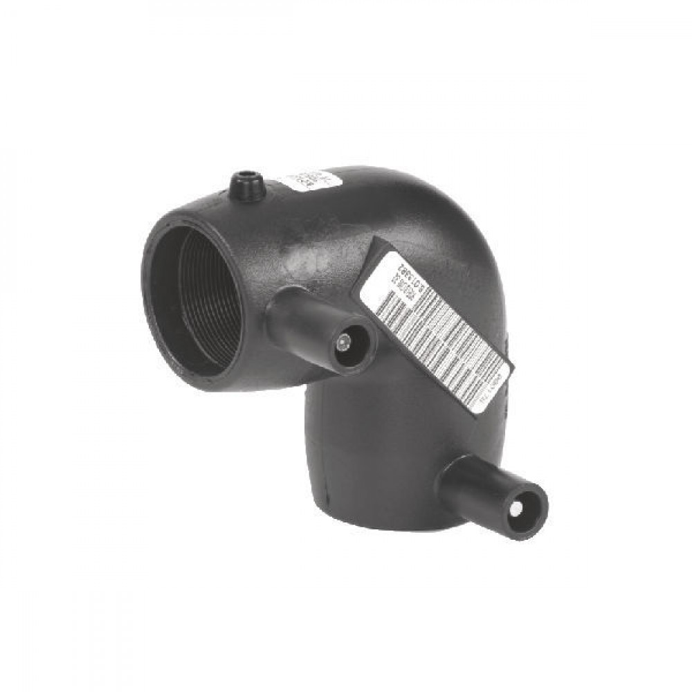 Plasson Knie 90° 90 mm SDR 11 - 490504090 | PE 100 SDR 11 (ISO S5) | 203 mm | 90 mm | 112 mm