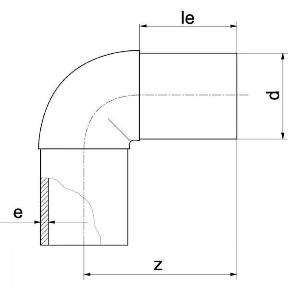 Plasson Knie 90° 250 mm SDR 11 - 490507250   Universeel toepasbaar   PE 100 SDR 11 (ISO S5)   250 mm   130 mm   22,7 mm   300 mm