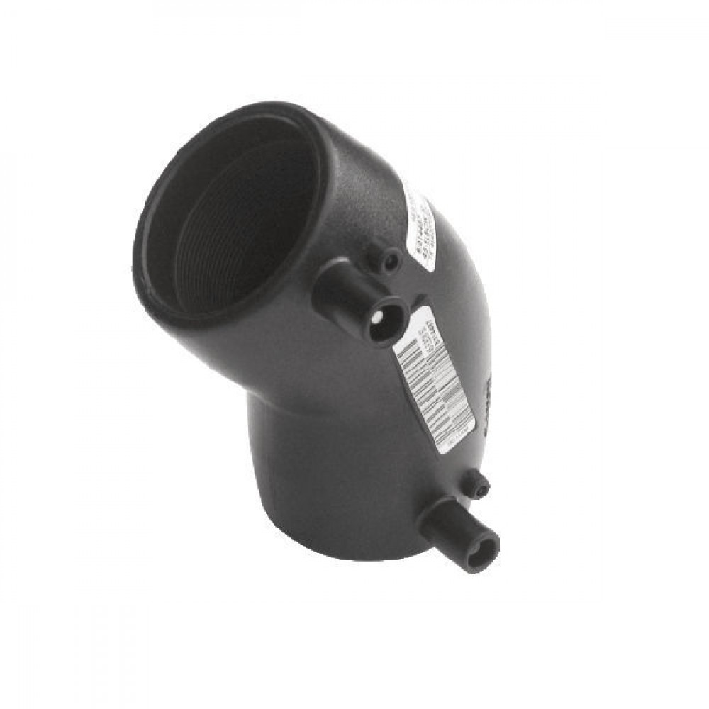 Plasson Knie 45° 110 mm SDR 11 - 490604110 | PE 100 SDR 11 (ISO S5) | 257 mm | 143 mm | 110 mm