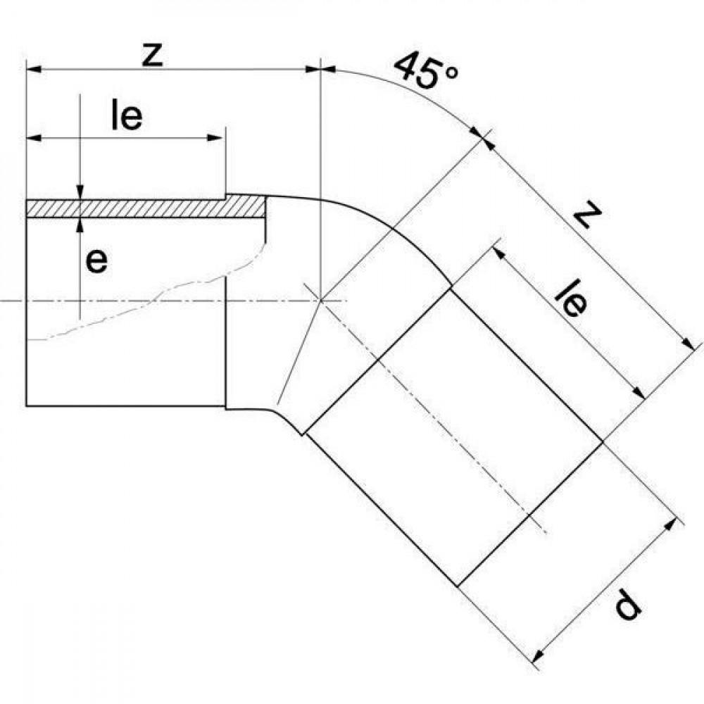 Plasson Knie 45° 250 mm SDR11 - 490607250   Universeel toepasbaar   PE 100 SDR 11 (ISO S5)   130 mm   250 mm   300 mm   22,7 mm