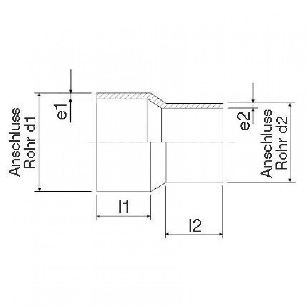 Plasson Verloopstuk 160-110 mm SDR11 - 491107160110 | Universeel toepasbaar | PE 100 SDR 11 (ISO S5) | 160 mm | 110 mm | 14,5 mm