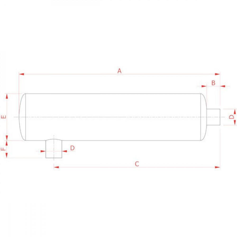 Battioni Pagani Uitlaat demper BP - 5090000094 | 1.600 m³/h | 1.500 mm | 100 mm | 1.240 mm | 120 mm | 350 mm | 130 mm