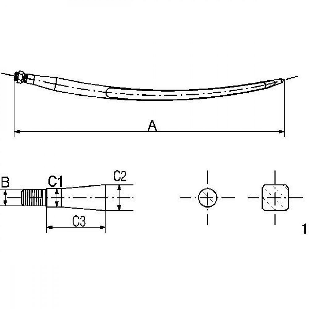 Gopart Kuilhappertand L-770, Ø 36, M22 x 1,5 - 519377022 | 770 mm | 22 x 1.5 mm