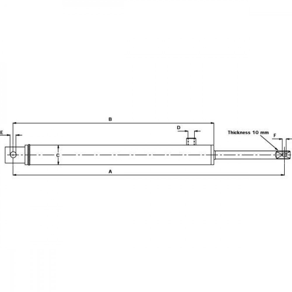 "Saturn Hydr. cilinder 6"" universeel - 6001000C | Gaffel tussenmaat 21mm | 250 bar | 690 mm | 130 mm | 512 mm | VAC-9-0000 | 3/8"" BSP Inch"