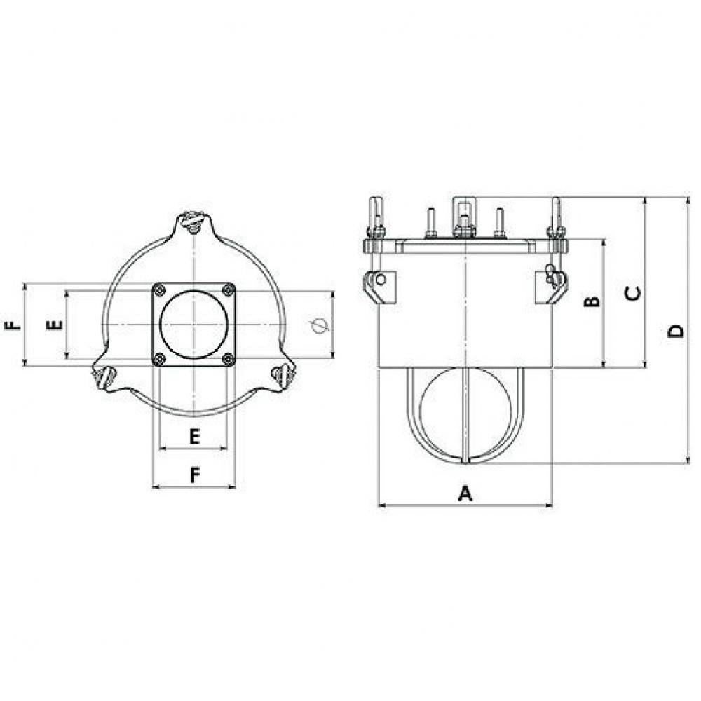 Battioni Pagani Primaire afsluitklep - 6100200023 | 55.000 l/min | 1,5 bar | AIDA, KTS, KTM, WSM | 150 mm | 380 mm | 280 mm | 340 mm | 550 mm | 150 mm | 180 mm