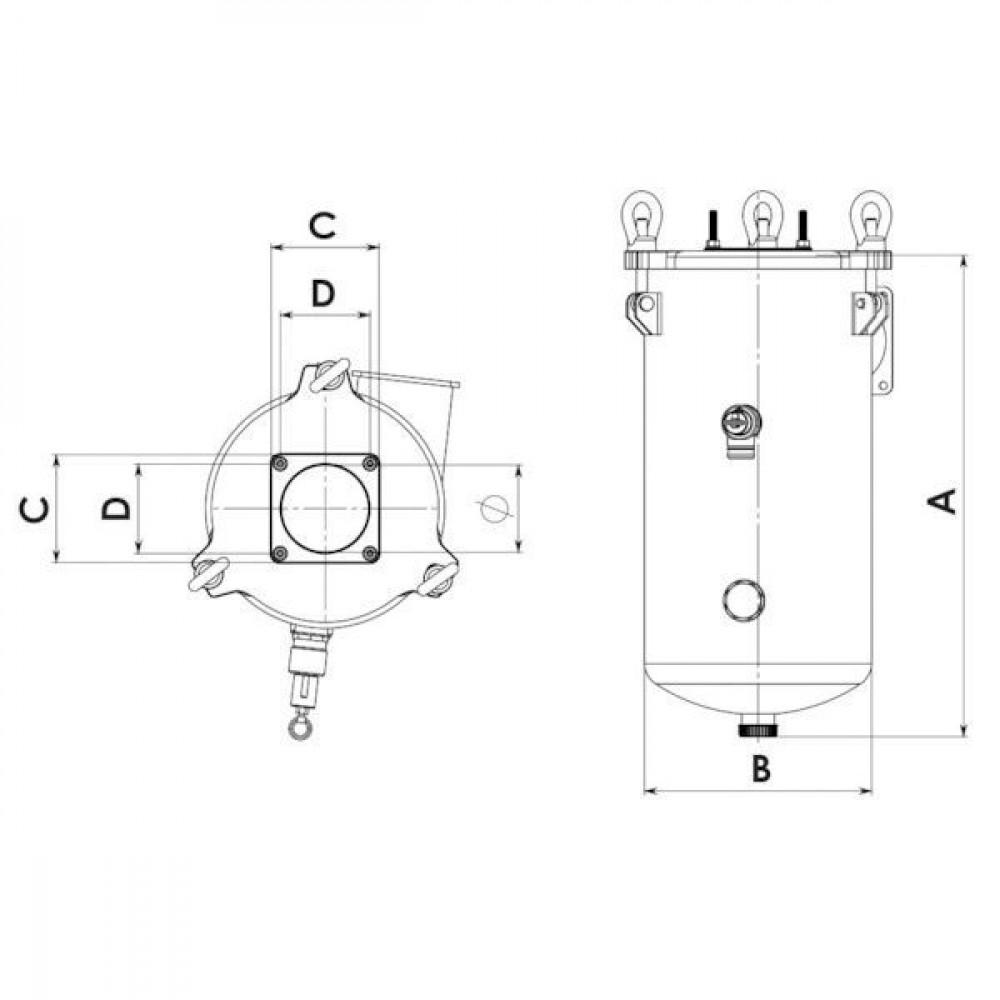 Battioni Pagani Secundaire afsluitklep - 6100200024 | 55.000 l/min | 1,5 bar | AIDA, KTS, KTM, WSM | 840 mm | 380 mm | 180 mm | 150 mm