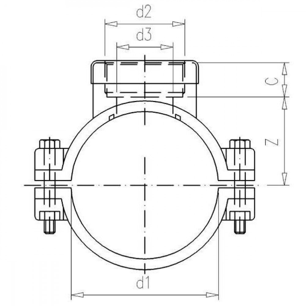 "VdL PP aanboorzadel 90mm x 2"" bi. - 7090002 | Polypropyleen | 2 Inch | 4x M8x60"