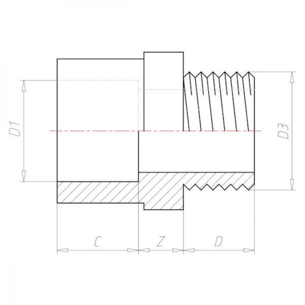 "VdL Adaptermof 32/40mm x bu. 1"" - 74032160 | 1 Inch | 10 bar"