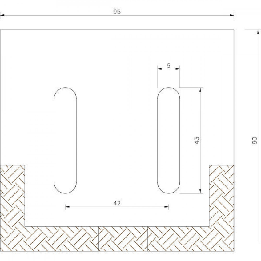 Afstrijker carbide 95x90mm Maschio - AB090003CN | 43 x 9 mm