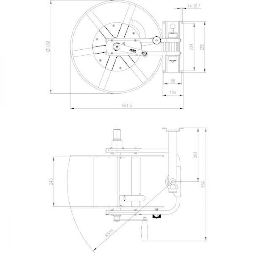 "ALBA-Krapf Wand slanghaspel Status III RVS - AKS11524 | 1.4301 / AISI 304 | 3/4"" | 25 bar | 11,15 kg"