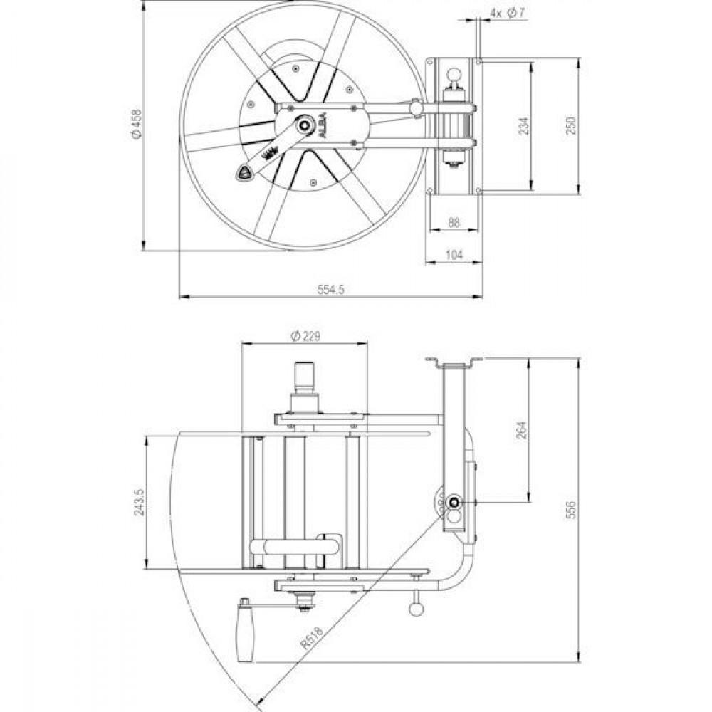 "ALBA-Krapf Wand slanghaspel Status III - AKS11525 | 3/4"" | 25 bar | 11,15 kg"