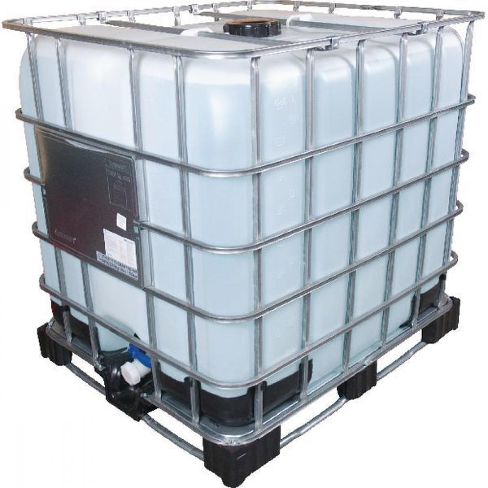 "Meinler Gedemineraliseerd water IBC 1000 liter - ME80672   Geleidbaarheid < 2 µS/cm  Accu water   Demi-water   IBC wordt uw eigendom   Nieuwe tank / blaas van PE-HD   Nieuwe kraan DN50 / 2""   Opening bovenkant DN150 / 6"""