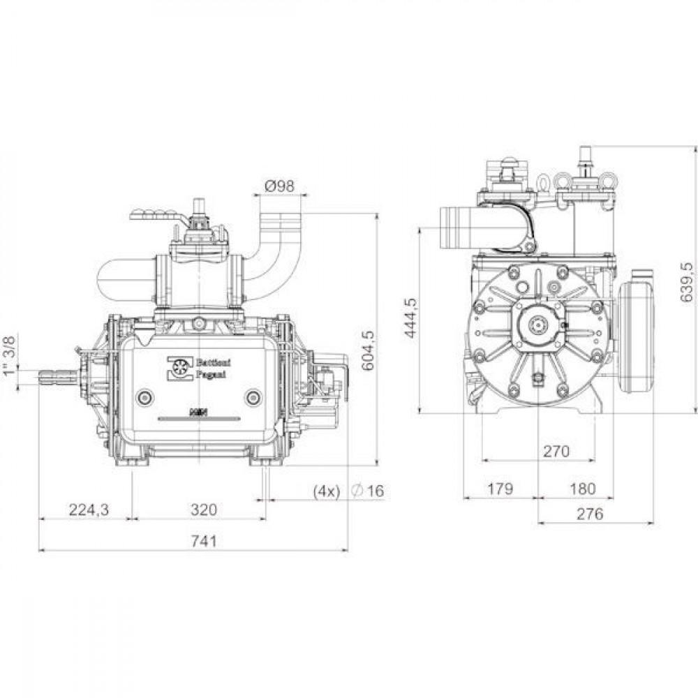 "Battioni Pagani Compressor dir. L. BP - BALLAST16000D | 913 m³/h | 15.210 l/min | 1.400 Rpm | 2,5 bar | 0,95 bar | 33 kW max. vacuum | 210 kg | 1 3/8"" Z6 ISO 500 | 1 1/2 Inch | 2 1/2 Inch"