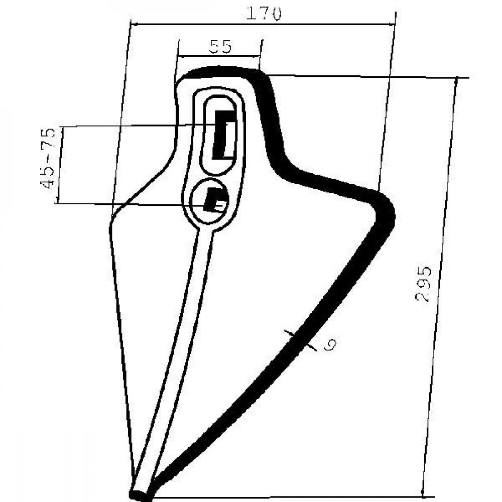 Beitel Centaur - CP120 | 295 mm | 170 mm | 45 / 75 mm | 1 sleufgat