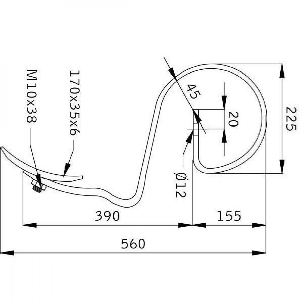 Cultivatortand Rau - CP12144 | 390 mm | met beitel | 560 mm