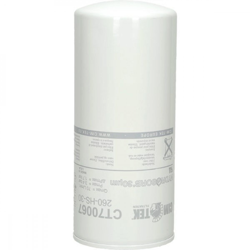 "Cim-Tek Filterelement 0,26L - CT70067L   260-HS-II-30   1""12 UNF Inch   3.4 bar   30 µm   220 mm   65 l/min"