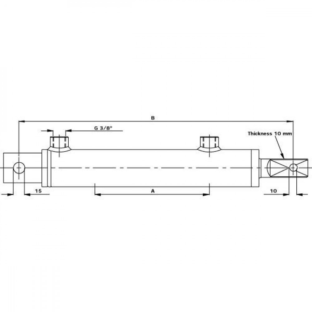 Hydr. cilinder D25-40-150 DW - D2540150DW | Universeel | Breed toepassingsgebied | Penverbinding | 353 mm | 40 mm | 25 mm | D 9-2540-00 | 150 mm