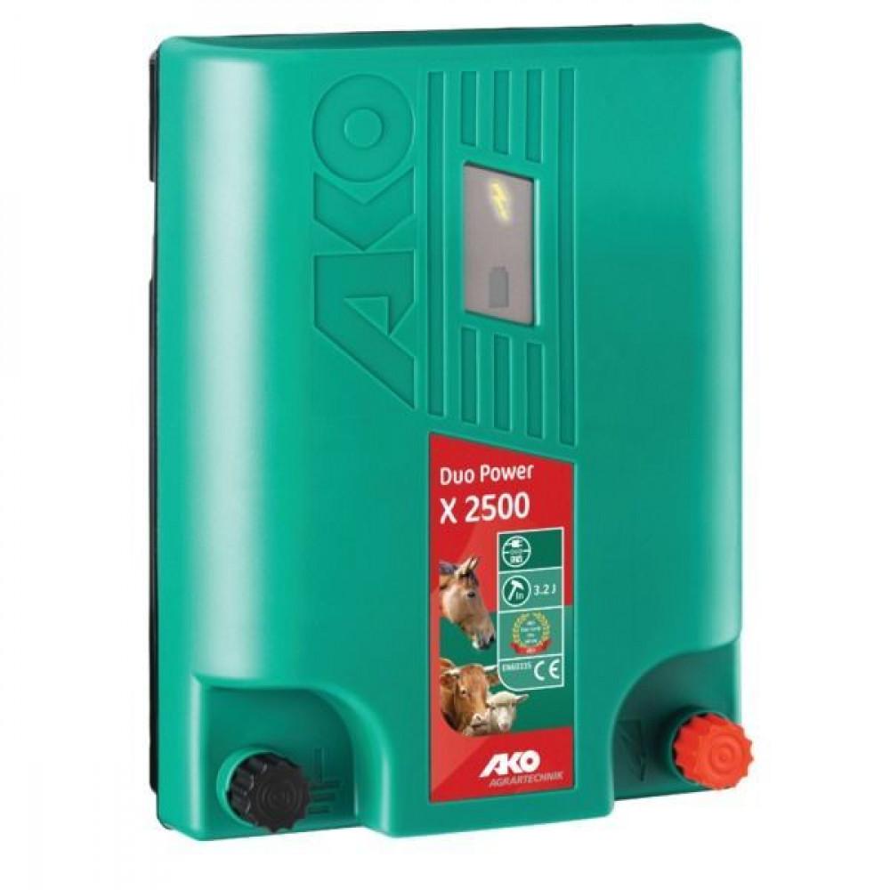 AKO Duo-Power X2500 afrasteringsapparaat - 372123   Energiebesparende modus   3 jaar garantie   9600 V   7200 V   3,2 Joule   2 Joule   70 km   90-188