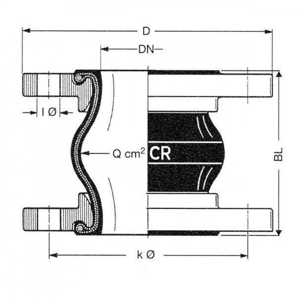 xx Rubbercompensator D300 - EJCCR300 | Eenvoudige toepassing | 460 mm | 16 bar | 300 mm mm | 130 mm mm | 12 x 27 mm mm | 410 mm | 100 Nm