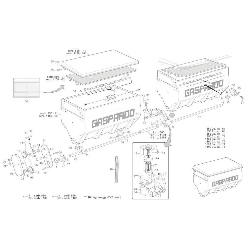 Meststofbak Gaspardo - G15472790R | 835 mm | 600 mm | 545 mm