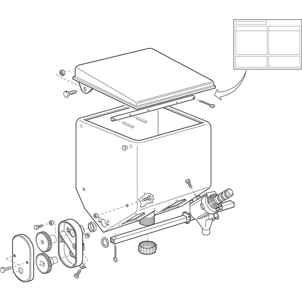 Microgranulaatbak cpl. Gaspardo - G20890125R | 502 mm | 446 mm | 332 mm