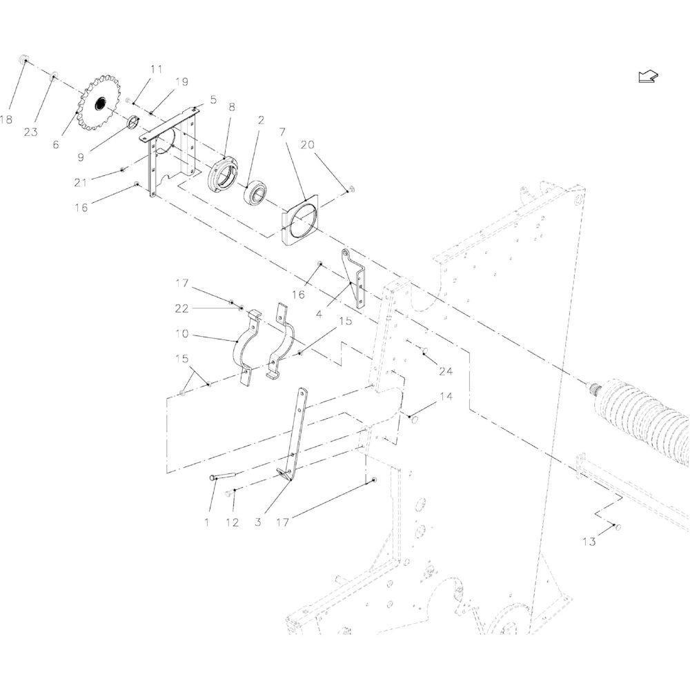 16 Lager, rol passend voor KUHN VB2260