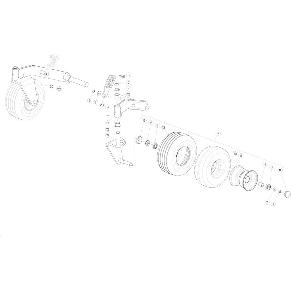 44 Wiel scharnierende opraper passend voor KUHN VB2285